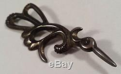 Vintage Indian Sterling Silver Sand Cast Flying Vibrant Bird Pin Brooch