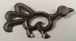 Vintage Indian Sterling Silver Sand Cast Turkey Bird Pin Brooch