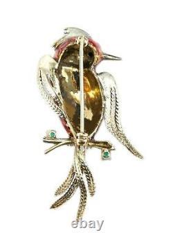 Vintage Italian Signed 14K Yellow Gold, Enamel & Emerald Fire Bird Brooch