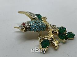 Vintage JOMAZ Mazer Beautiful BIRD Brooch Pin With All Stones In Tact