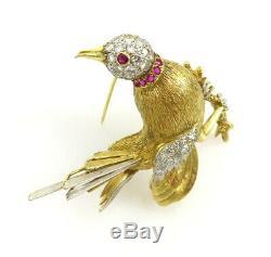 Vintage J. GJLRY 1.80ct Diamond 0.30ct Ruby 14K White & Yellow Gold Bird Brooch