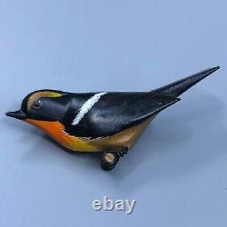 Vintage Japanese Hand Painted Wood Bird Brooch Kibitaki Signed Kitsutsuki-an