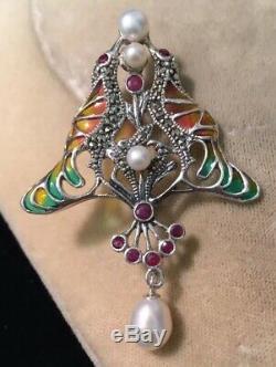 Vintage Jewellery Beautiful Sterling Silver, Enamel, Ruby & Pearl Birds Brooch
