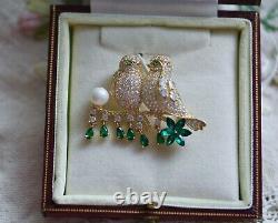Vintage Jewellery Brooch Two Lovery Birds Antique Art Dress Jewelry