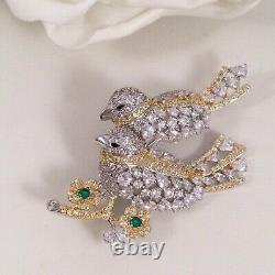 Vintage Jewellery Crystal Bird Brooch Antique Deco Dress Jewelry Birds Pin
