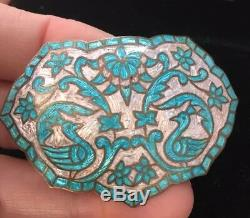 Vintage Jewellery Silver and Turquoise Enamel Birds And Flowers Large Brooch