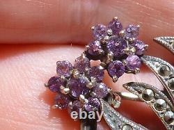 Vintage Jewellery Sterling Silver Love Birds Nest in Hat Amethyst Brooch/Pin Box