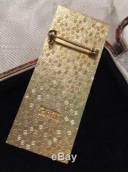 Vintage Jewellery Stunning Signed Enamel Art Nouveau stoke birds brooch