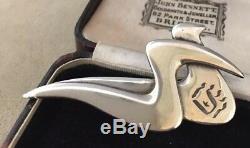 Vintage Jewellery lovely signed sterling silver Modernist Dove Birds brooch