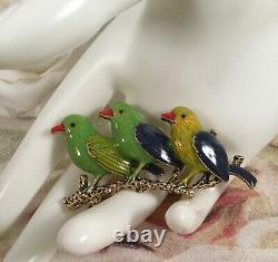 Vintage Jewelry Brooch Pin Green Enamel Birds on Branch Antique Dress Jewellery