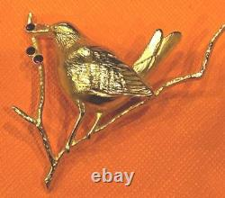 Vintage Joan Rivers Bird And Holly Branch Pin Brooch Rare