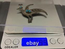 Vintage Joe Tenorio Kewa Native Turquoise Sterling Silver Bird Pin Brooch