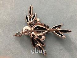 Vintage Juliana D&E Black Bird Brooch Pin