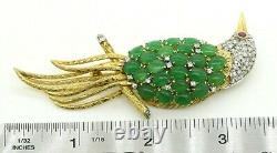 Vintage Jumbo Heavy 14K gold 1.77CTW diamond/ruby/jade cluster bird brooch