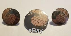 Vintage LAUREL BURCH Silver Signed Mynah Birds 1983 Brooch and Post Earrings Set