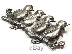 Vintage Ladies Solid Sterling Silver Chirping Birds Pin Brooch