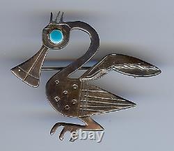 Vintage Laffi Peru Sterling Silver Enamel Bird Pin Brooch