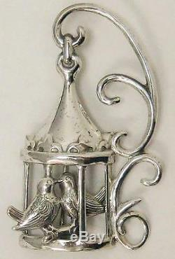 Vintage Lang Love Birds & Cage Pin/brooch2 1/4 X 1 1/45.8 Gramsexc Cond