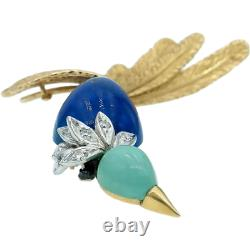 Vintage Lapis Turquoise and Diamond Bird Brooch in 18k Yellow Gold White Gold