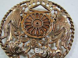 Vintage Large Intricately Carved Crown Birds Round Brass Brooch 2 5/8 Diameter