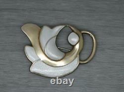 Vintage Large Norwegian J Tostrup Guilloche Enamel Sterling Abstract Bird Brooch
