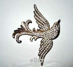 Vintage Large Sterling Rhinestone Bird Brooch Pin Deco to Early Mid Century