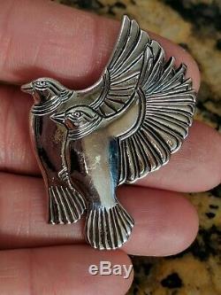 Vintage Laurel Burch Flying Birds Pin / Brooch Silver Tone