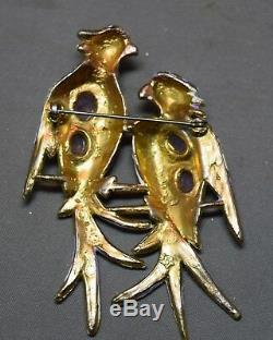 Vintage Lavendar Cabochon Faux Moonstone Enameled Figural Birds Brooch