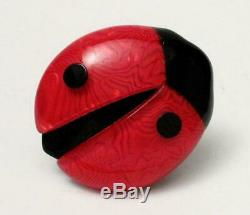 Vintage Lea Stein Paris Lady Bird Bug Brooch French Lucite Celluloid France