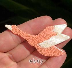 Vintage Lea Stein Paris Pink & White Flying Duck Bird Pin Brooch
