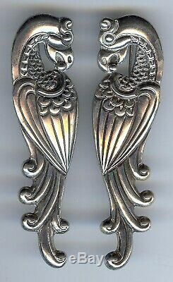 Vintage Los Castillo Taxco Mexico Sterling Silver Parrot Birds Pin Brooch Pair