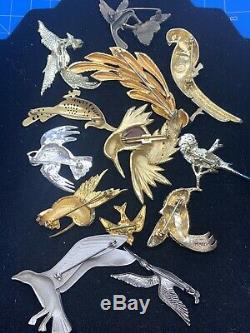 Vintage Lot Of 13 Birds Brooch Rhinestone Enamel Some Signed