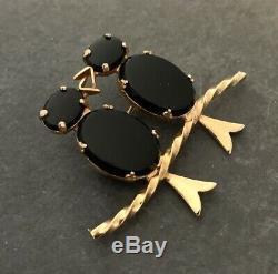 Vintage Love Birds Brooch Black Glass Cabochons Costume Jewelry