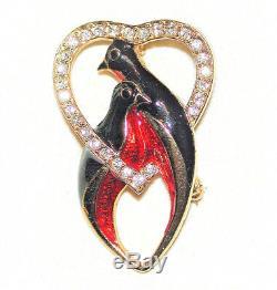 Vintage Love Birds Brooch Enamel Red Black W Crystal Heart Frame Signed Sphinx