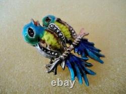 Vintage Love Birds Sterling Silver Marcasite Cloisonne Enamel Pin Brooch Germany
