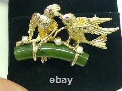 Vintage Love Birds on Jade Green Branch 14k Gold Pin Brooch Pearl & Ruby 14Gram