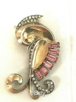 Vintage MB Boucher Phrygian Cap Figural Bird Brooch Pink & Crystal Rhinestones