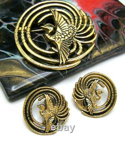 Vintage MFA Bird of Paradise Phoenix Brooch Pierced Earring Set Gold Tone