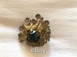 Vintage MIRIAM HASKELL Brooch Black Stone with Birds and Flowers