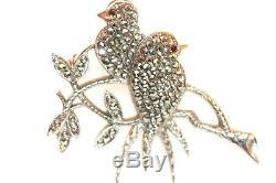 Vintage Marcasite Sterling Silver SWALLOW Birds Ruby Eye Brooch Pin