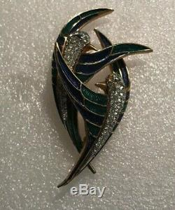 Vintage Marcel Boucher Brooch 2 Birds Enamel Pave Rhinestone Blue Green Signed