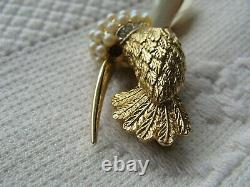 Vintage Marcel Boucher Gold Plate Pearl Rhinestone Shell Hummingbird Bird Brooch