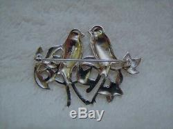 Vintage Masha Sterling Silver Marcasite Red Rhinestone Eye Love Birds Pin Brooch