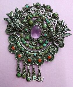 Vintage Mexican Original Matilde Poulat Turquouise Coral Amethyst Birds brooch