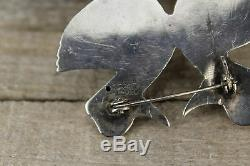 Vintage Mexico Handmade Silver Brooch Pin of Two Ducks or Geese Birds