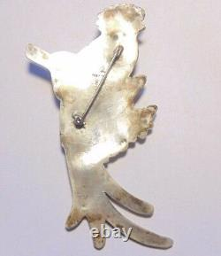 Vintage Mexico Sterling Silver 925 Quetzal Bird Repousse Pin Brooch Large 1940's