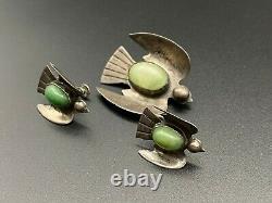 Vintage Mexico Sterling Silver Bird Earrings Brooch Set