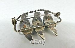 Vintage Mexico Sterling Silver & Blue Jasper Gemstone 3 Parrot Birds Brooch Pin