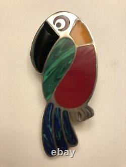 Vintage Mexico Taxco TO-27 950 Silver Multi Stone Parrot Bird Brooch (24.5g) (B)