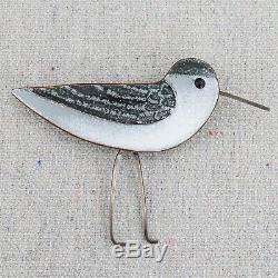 Vintage Mid Century Sterling Silver Copper Enamel Sandpiper Ocean Bird Brooch